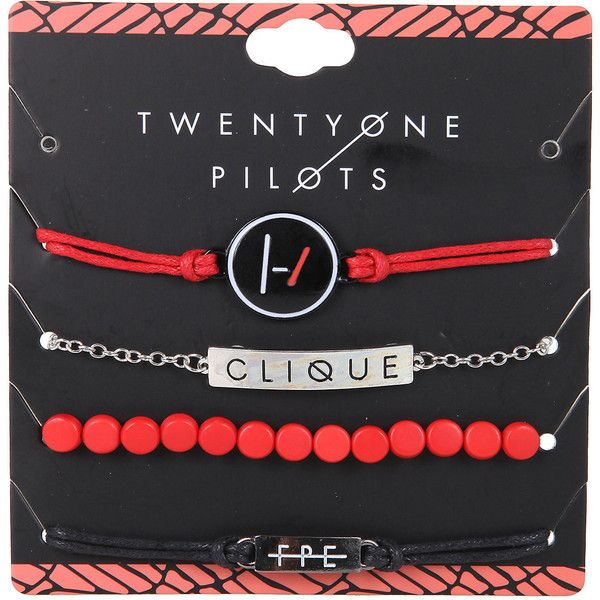 Twenty One Pilots Clique ID Bracelet Set Hot Topic (£5.57) ❤ liked on Polyvore featuring jewelry, bracelets, roaring twenties jewelry, red jewelry, red bangles, 1920s style jewelry and 1920s jewelry