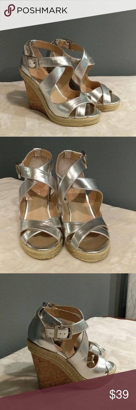 Charles by Charles David platform heels Charles David platform heel. Silver with cork platform heel. New. Charles David Shoes Platforms