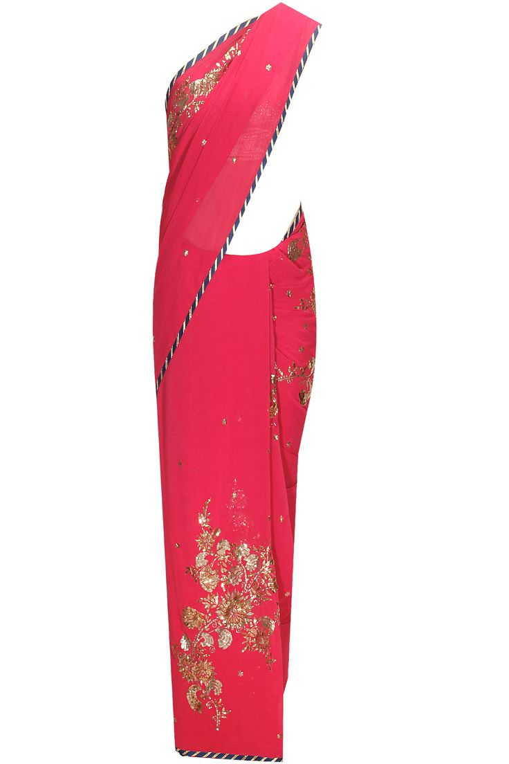 Dark pink badla work sari by Shehla Khan. Shop now: www.perniaspopups.... #sari #clothing #shehlakhan #perniaspopupshop #shopnow #happyshopping.