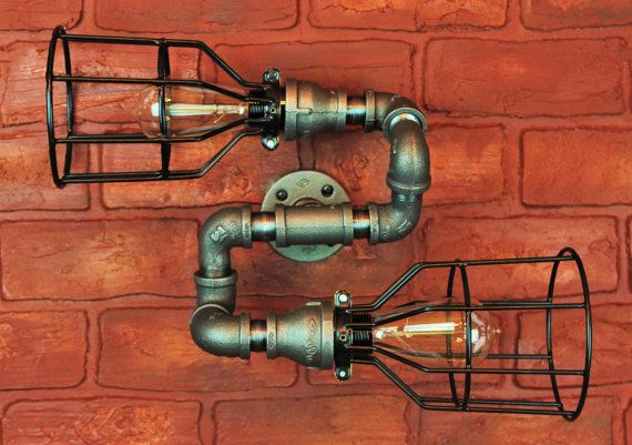 Pipe Lighting w/ Cages, S bend Wall Art, Steampunk & Industrial, Vintage Edison Light bulbs - Wall sconce light fixture, black pipe light