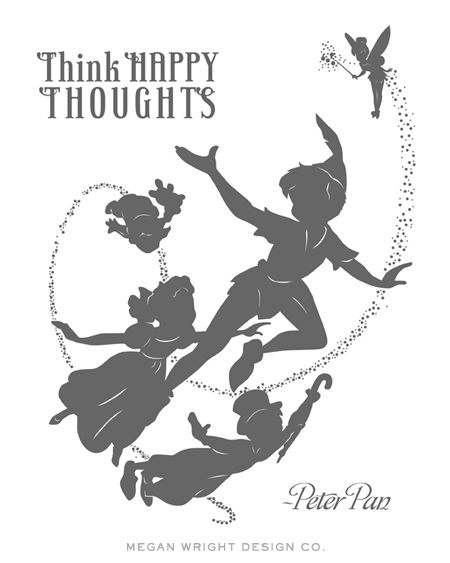 Peter pan silhouette print I designed for Baby Wright's nursery. Think Happy Thoughts #PeterPan #HappyThoughts
