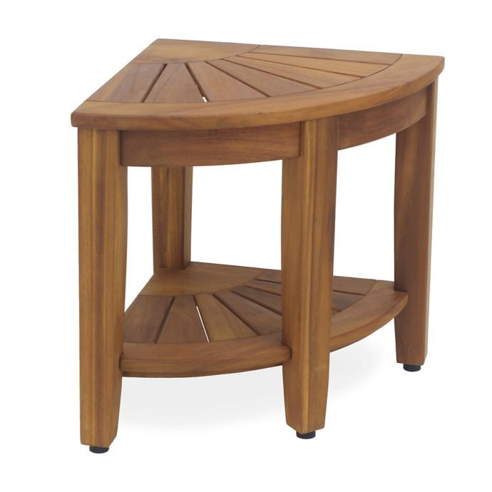 Haven Solid Teak Corner Vanity Stool With Images Vanity Stool