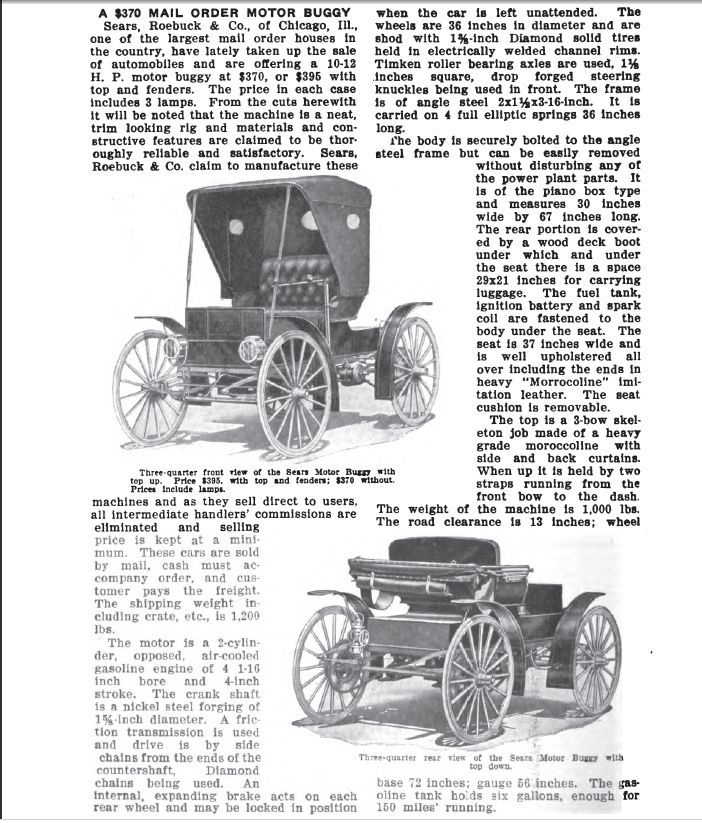 1909 This Article Appeared In Cycle Auto Trade Journal Of January Page It Is The Earliest Mention Sears Motorbuggy Any Print I Have Been