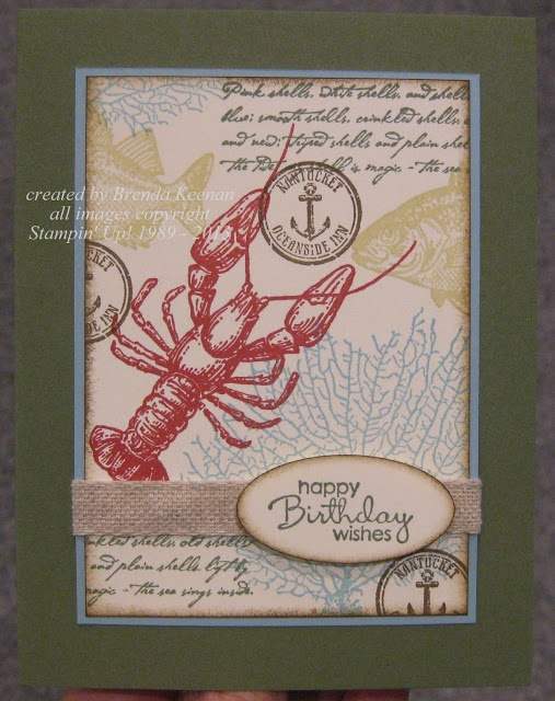 """(cased with some changes from Sandy Mathis)  I first stamped the two larger images:  lobster & coral, then filled in with the smaller ones.  A little sponging around the edges with Soft Suede and finished off with some of that new Natural 7/16"""" Trim Ribbon.    Stamps:  By The Tide, Petite Pairs  Ink:  Riding Hood Red, Always Artichoke, Baja Breeze, River Rock, Soft Suede  Paper:  Always Artichoke, Baja Breeze, Very Vanilla  Accessories:  Natural 7/16"""" Ribbon, Lg Oval Punch, Dimensionals…"""