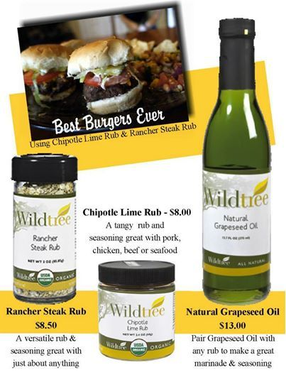 Want to get raves for your burgers??? Use Wildtree's Natural Grapeseed oil and then rub in the Chipotle Lime Rub then shake on some Rancher Steak rub. Juicy burgers that taste awesome!!!! And if I haven't mentioned it before Rancher Steak Rub is fantastic on fries (veggies etc. etc. Fantastic blend!) !!! http://www.mywildtree.com/cookinghealthywithsuzanne  Stock up this month and enjoy FREE shipping on all orders of $50 or more on me.