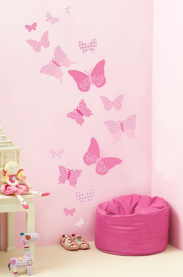 Great m dchenzimmer wandsticker rosa schmetterlinge spielzeuge