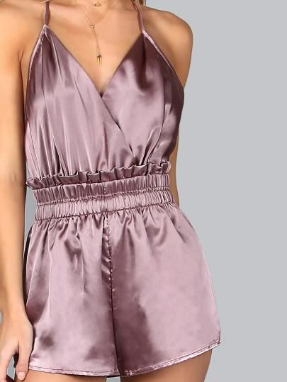 Purple Silk Sexy Romper. Fabric: Fabric has some stretch Season: Summer Pattern Type: Plain Color: Purple Sleeve Length: Sleeveless Material: 100% Polyester Neckline: Strap, V neck Style: Sexy Thigh(C