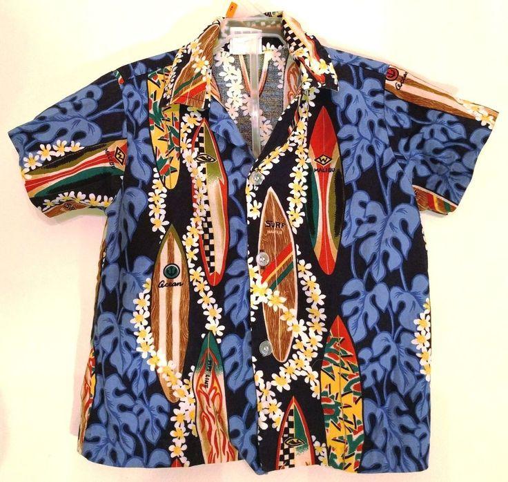 Aloha Shirt Nui Nala Hawaiian Child Toddler Boys 3T Cotton Rockabilly Surfboard #NuiNalaHawaii #anyDressyEveryday #AlohaShirt #Surfboard #ToddlerAlohaShirt #ChildsAlohaShirt