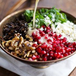 Pomegranate, Kale and Wild Rice Salad with Walnuts and Feta (for a vegan version, leave out the feta) #healthyrecipes #wintersalad