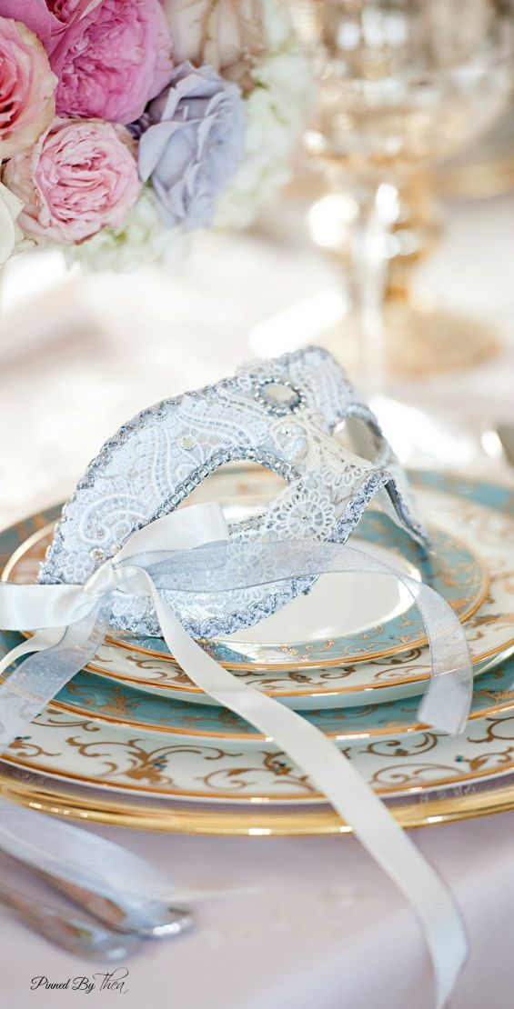 Wedding Place Setting ● Romantic Fairytale | See Marie Antoinette wedding inspiration: http://www.xaazablog.com/xaaza-tips-on-a-budget-wedding-wedding-deals/ #marieantoinettewedding