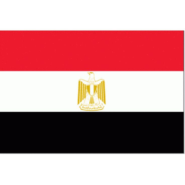 vlag Egypte | Egyptische vlaggen 150x225cm De vlag van Egypte werd aangenomen in oktober 1984. Deze Egyptische vlag heeft kleuren van het pan-Arabisme , zet zo als het wapen van Egypte, dat gevormd wordt door de Saladins Adelaar. Deze pan-Arabische kleuren zie je ook in de vlag van Irak.