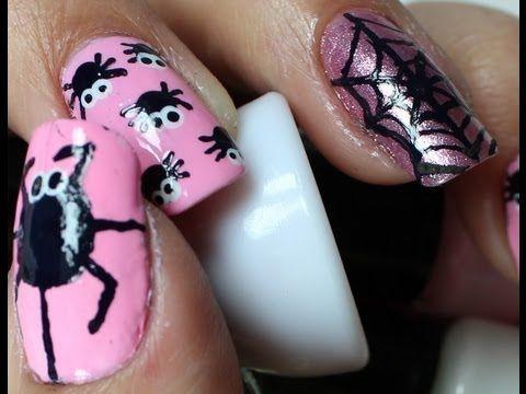 Como fazer unhas de Aranhas e Teias Fluorescentes(Halloween) Spider Web Nails Art Fluorescent