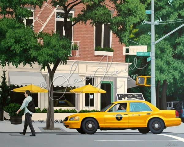 Yellow Cab on Bowery, NYC by Laura Kaardal, Acrylic on Canvas | $1,150 www.ugallery.com/laura-kaardal