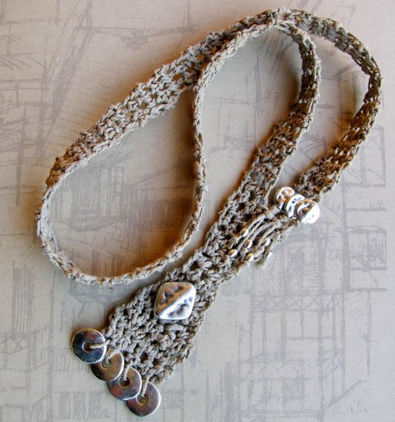 Beige taupe Long Statement Necklace Boho Ethnic by totalhandmadeD