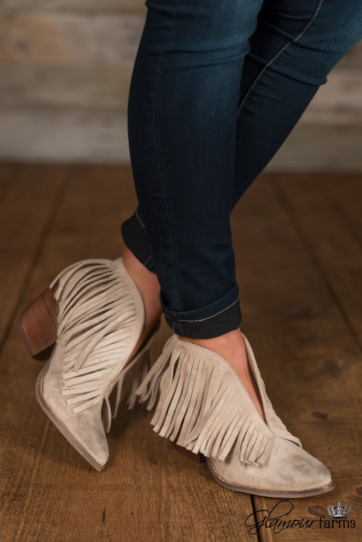 "Matisse Lambert Bootie will jazz up any outfit! This slip-on, short bootie has a front ""V"" slit, back pull tab for easy access, pointed toe and long faux-suede fringe along the curved topline."