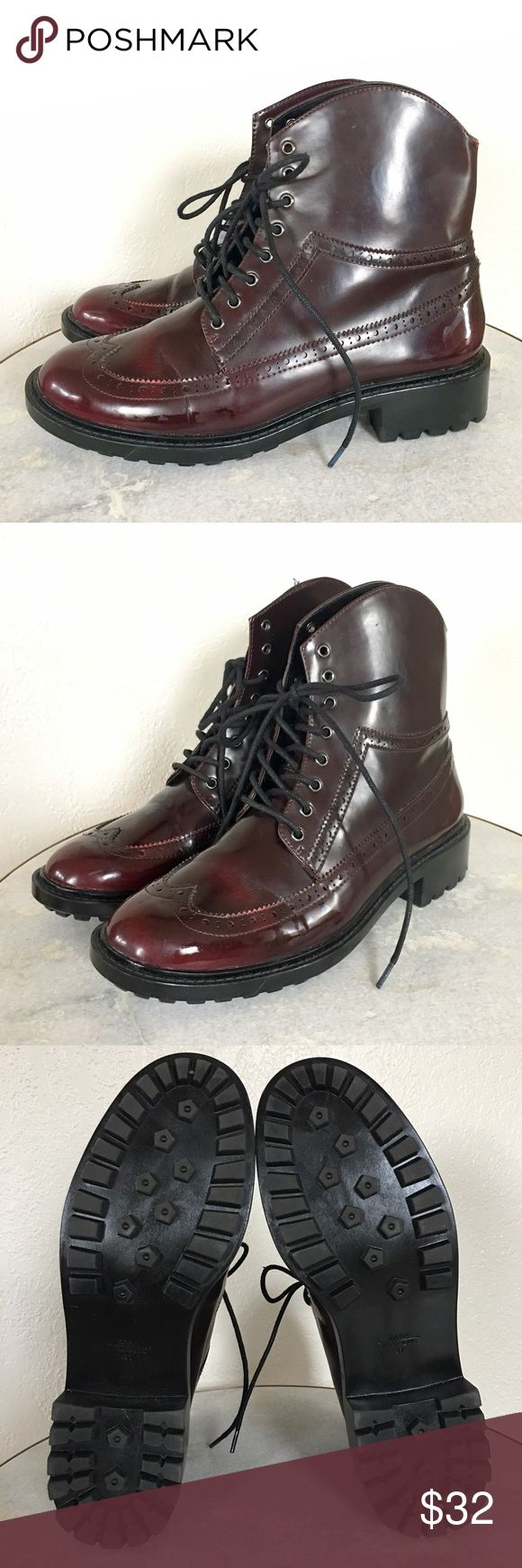 Zara Brogue Combat Boots These burgundy boots combine the masculine style of brogues and combat boots in a patent burgundy leather with a soft ankle high cut. Near perfect condition - have been worn once! Great for rain or snow. Runs very small - fits more like a 9 or 9.5. Zara Shoes Combat & Moto Boots