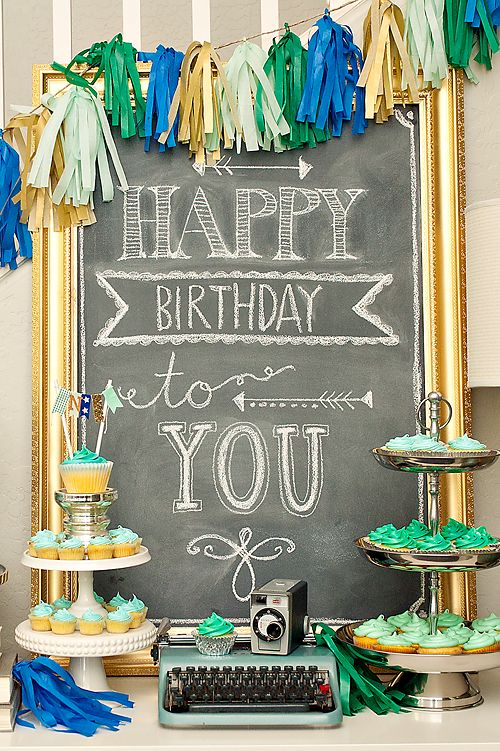 Birthday Party Decor Chalk Art