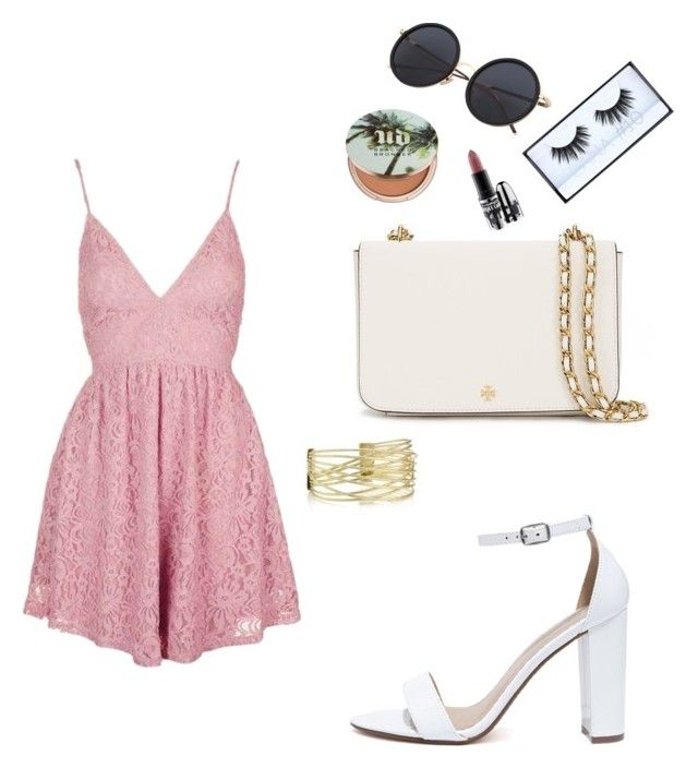 """Summer date☀️"" by yasmin-bach-rasmussen on Polyvore featuring Topshop, My Delicious, Tory Burch, Huda Beauty, MAC Cosmetics and Urban Decay"