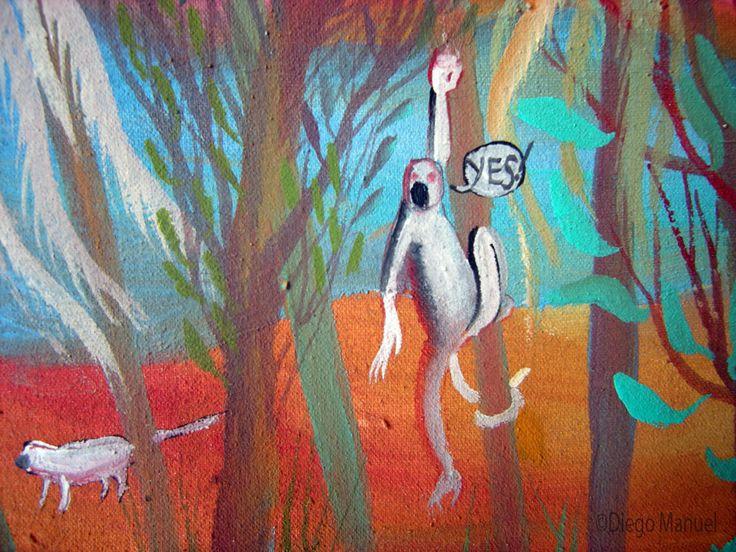 palmeras salvajes, acrylic on canvas, 45 x 30 cm. Cuadro en venta de la Serie Paisajes Naturales del artista plastico Diego Manuel