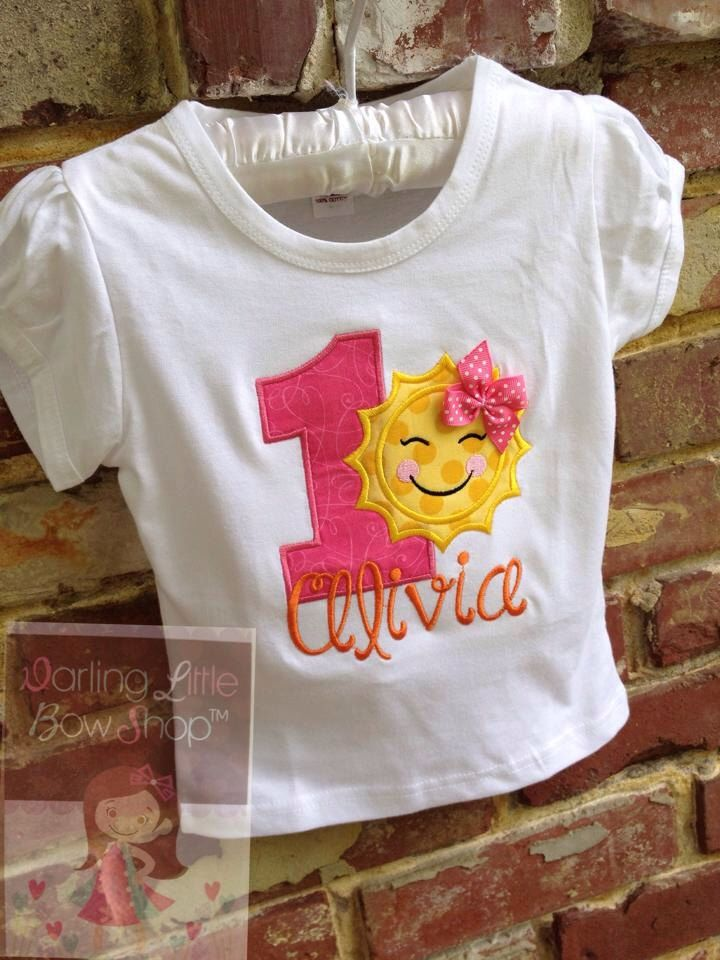 Baby Girl First Birthday Bodysuit or Shirt -- You are My Sunshine -- bodysuit or shirt in hot pink, yellow, and orange by DarlingLittleBowShop on Etsy https://www.etsy.com/listing/193556465/baby-girl-first-birthday-bodysuit-or