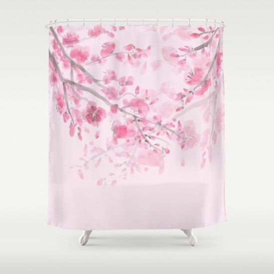 Cherry Blossom rose rideau de douche Sumi par ArtfullyFeathered