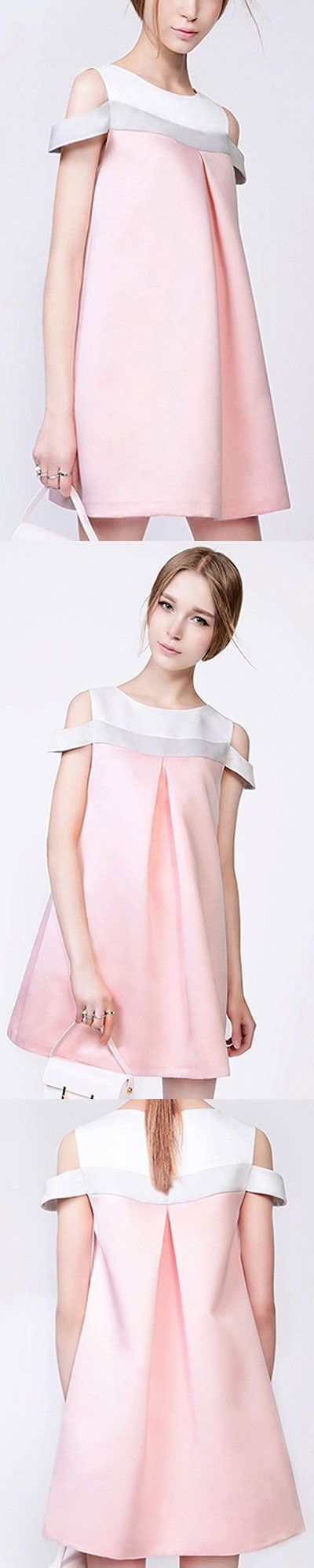 white and pinky dress - romantic outfit for summer - cut out shoulder design, looks so sweet and cute - 'pin10off' for order value $45 and above