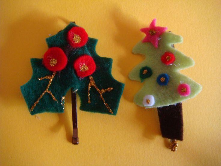 Χειροποίητο τσιμπιδάκι για τα μαλλιά. Handmade Christmas hairpins. http://nipiorama.blogspot.gr/2013/12/blog-post_10.html