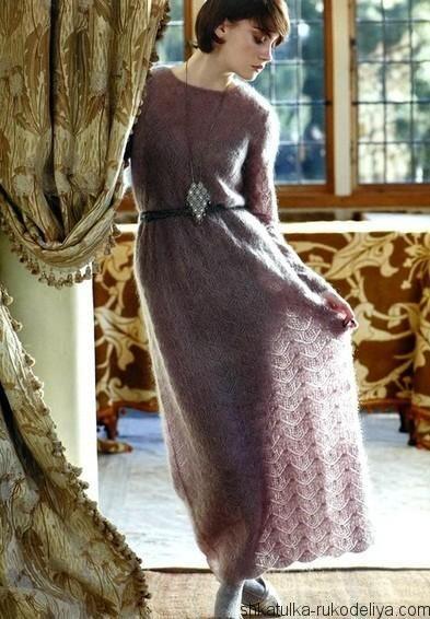 ажурное платье из мохера спицами длинное вязаное платье спицами с