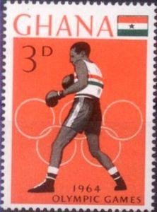 Sello: Boxing (Ghana) (Summer Olympics 1964, Tokyo) Mi:GH 190A,Sn:GH 181