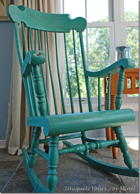 Distressed and refinished rocking chair, painted in Chalk Paint® decorative paint in a Florence and Provence mix
