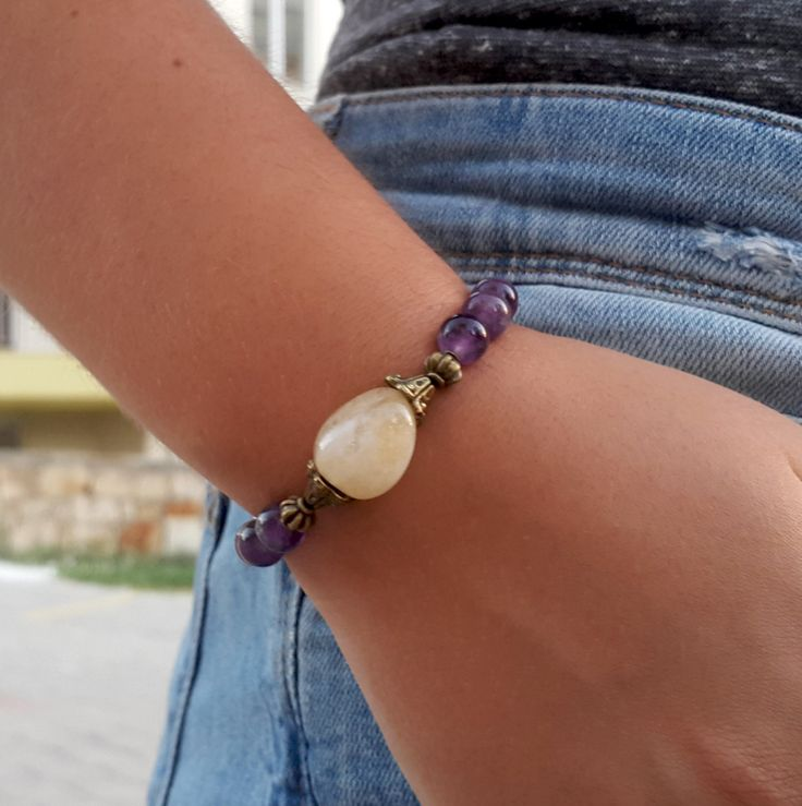 Prosperity Abundance Chakra Healing Citrine Amethyst Bracelet Yoga Meditation Spiritual Healing Spiritual Healing Gemstones Jewellery