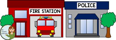 Community Buildings Clip Art - fire station and police station