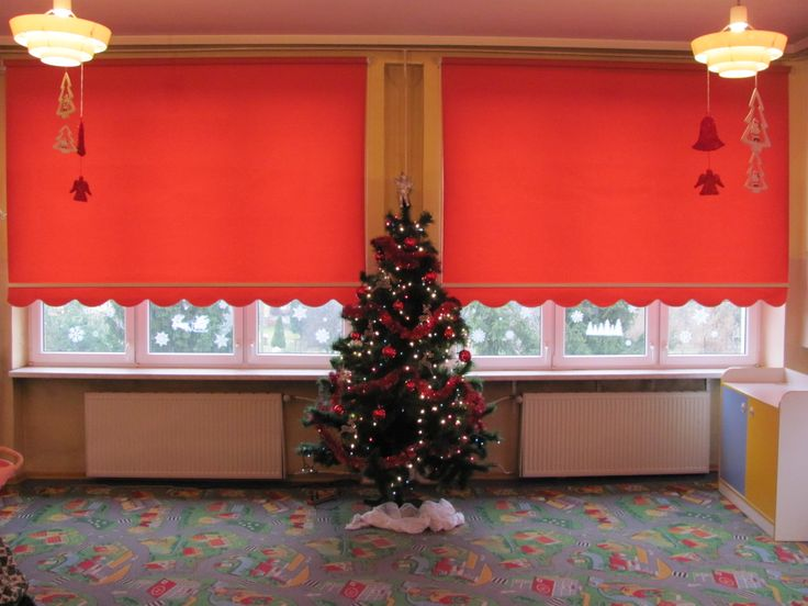 Roman Blinds with Red Fabric