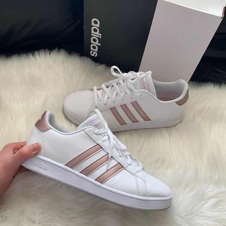 Adidias Grand Court K   Gold sneakers outfit, Adidas outfit shoes ...