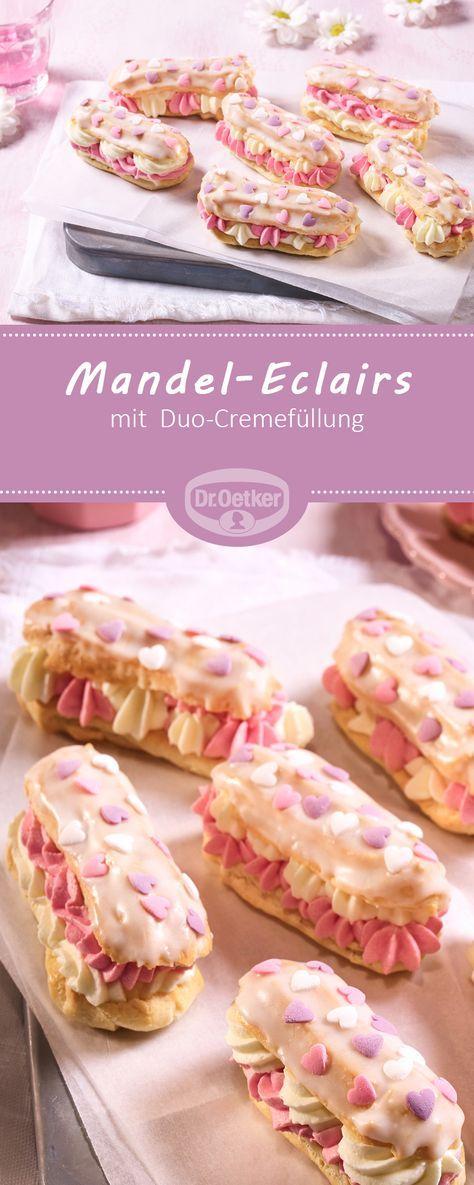 Mandel-Eclairs mit Duo-Cremefüllung - Gebäck aus Brandteig mit Mandeln und Duo-Tortencreme mit Kokoslikör #rezept #lecker #new