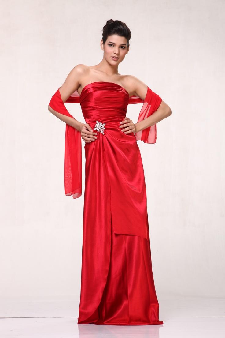 Red Satin Strapless Long Bridesmaid Dress Bridesmaid