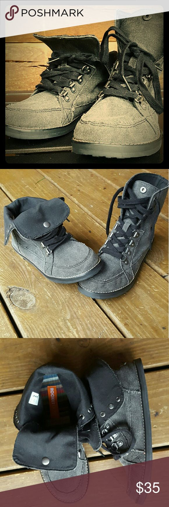 Rocket Dog Fold Over Bootie NWOT: Women's Size 7; Gray, With Black Laces Rocket Dog Shoes Ankle Boots & Booties