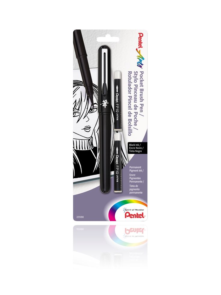 Pocket Brush Pen with 2 Black Refills - Pentel