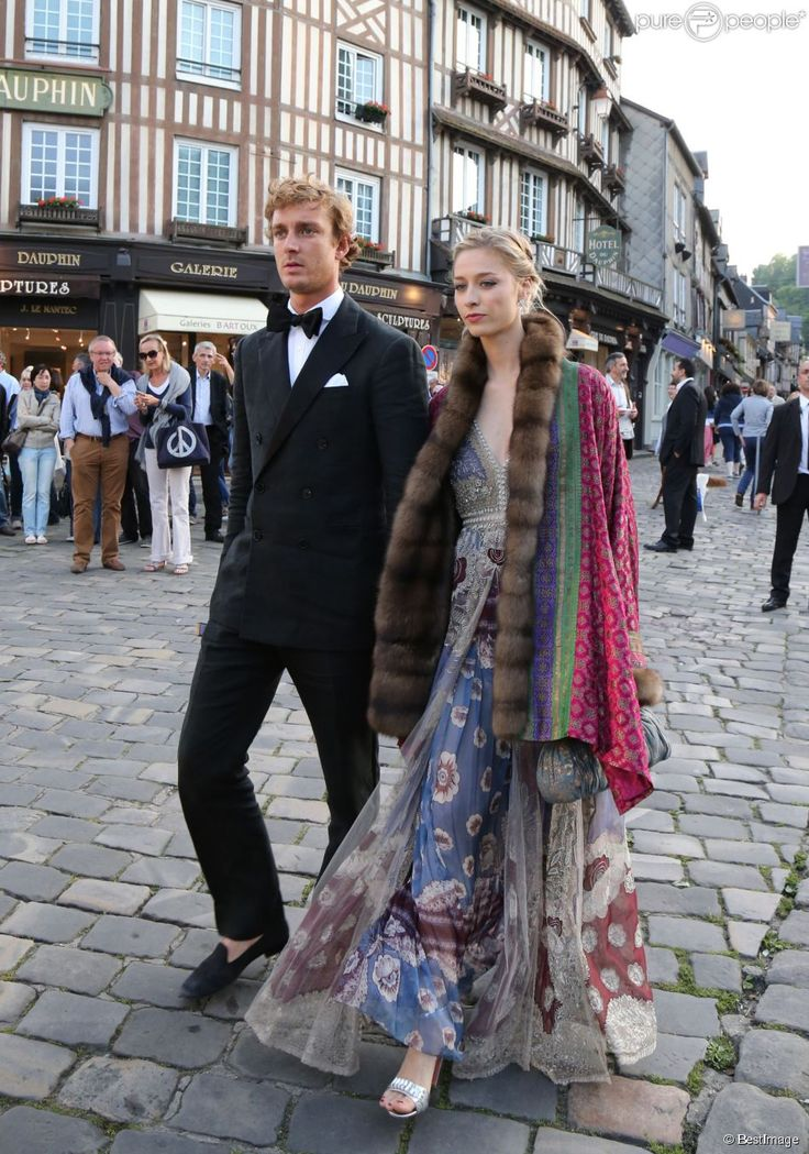 June 13, 2015 - Pierre Casiraghi and Beatrice Borromeo, in a Valentino dress, attended the wedding of Noor Fares and Alex Fareshkawam, Honofleur, France