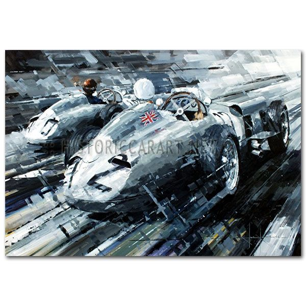 The Great Chase by John Ketchell (Fangio / Moss / Mercedes / Aintree) Original Painting by John Ketchell