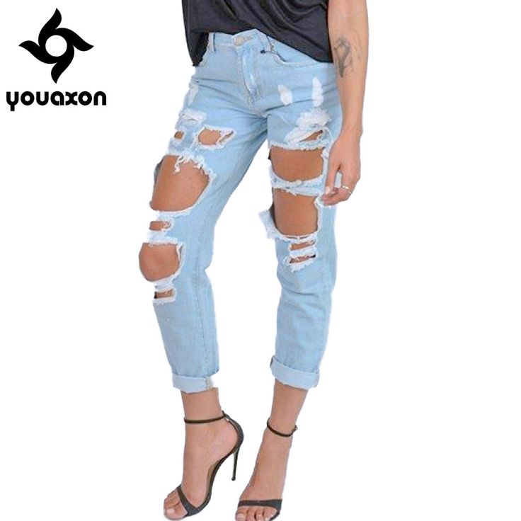 Aliexpress.com : Buy 1879 Youaxon Women`s Boyfriend Torn Holes Mid Waist Light Blue True Denim Capris For Women Ripped  Jeans from Reliable denim brand suppliers on youaxon Official Store