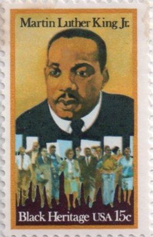 US postage stamp, 15 cents. Martin Luther King Jr. Black Heritage. Issued 1979. Scott catalog 1771.