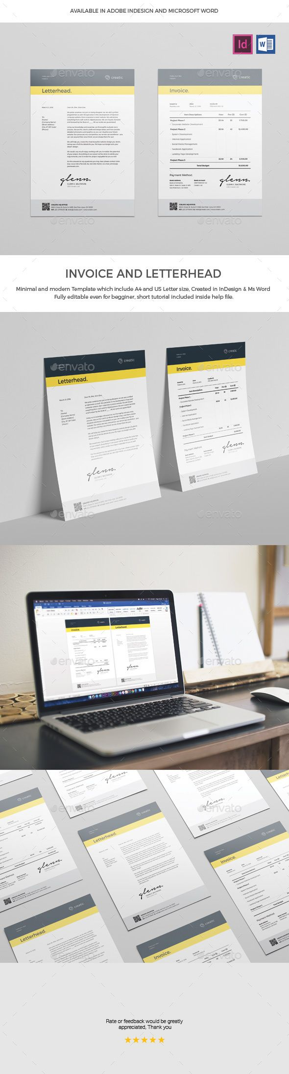 Invoice by broluthfi Invoice is a Sharp and Professional Template created in Adobe InDesign and Microsoft Word, it comes in two paper sizes including U