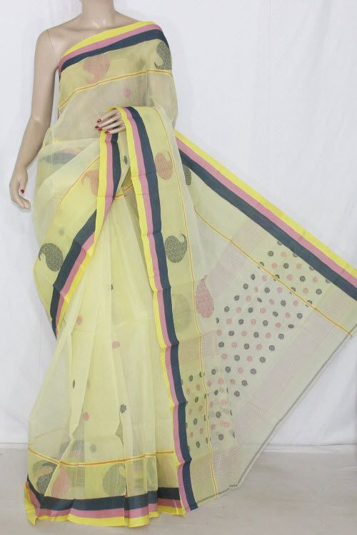 Light Yellow Handwoven Bengali Tant Cotton Saree (With Blouse) 13115