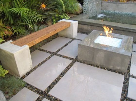 modern landscaping deck patio outdoor water feature