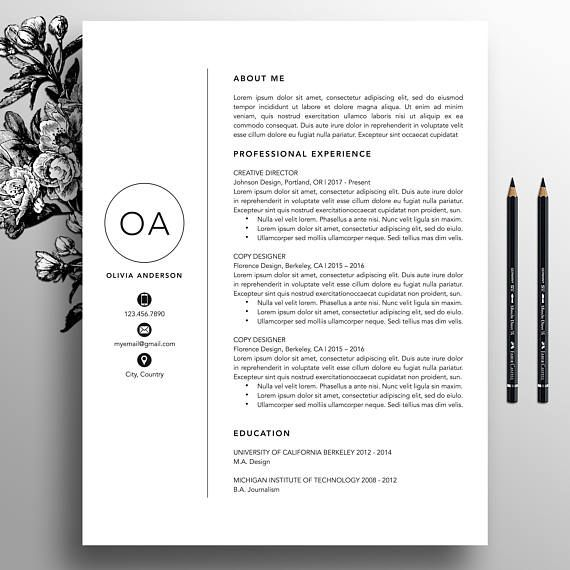 Professional Resume Template Cv Template Cover Letter For Ms Word Creative Resume Template Instant Digital Download Mac Pc Oliver In 2021 Resume Template Professional Creative Resume Templates Resume Template