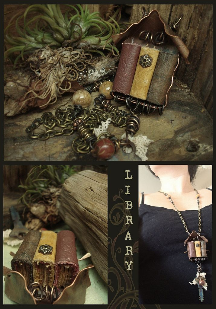 """~ Mixed Media Necklace ~  """"After nourishment, shelter and companionship, stories are the thing we need most in the world.""""  ― Philip Pullman  For the love of books and stories, fairy tales and alternate worlds! There is no better place in the world then within a book.  This piece is an assemblage of repurpose copper, 16/18g brass wires augmented by fire, 19g annealed steel wire, a variety of findings and spacers, antiqued brass chains, lace, an old key, Jasper and Agate beads and 3 minia..."""