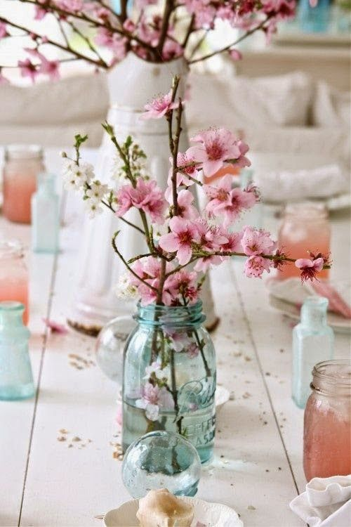The Beauty of a Cherry Blossom Wedding Theme: Wedding Centerpieces.  | Read more: http://simpleweddingstuff.blogspot.com/2015/03/the-beauty-of-cherry-blossom-wedding.html