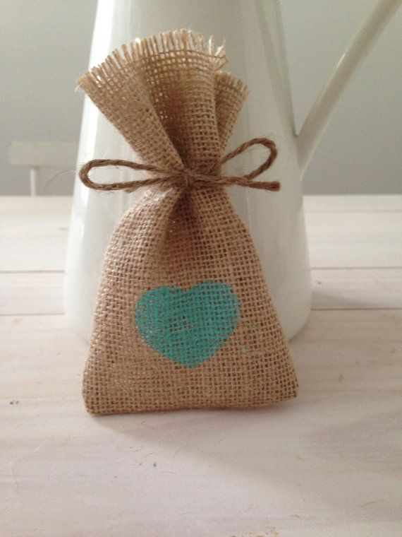 100 Mint Green Hessian/ Burlap Wedding Favor Bags by BreeWestwood, $130.00