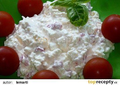 Rychlá cottage pomazánka(měkký sýr,jogurt,eidam,pórek,červ.paprika)
